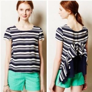 Anthropologie Maeve Apropos Striped Ruffled Blouse